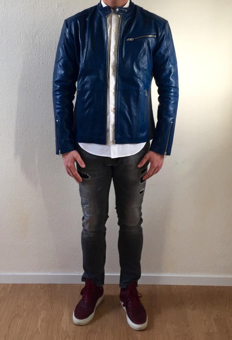 Jers – ARTIST – heren leren jas – blauwe